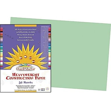 Pacon® SunWorks® Groundwood Construction Paper, Light Green, 12in.(W) x 18in.(L), 50 Sheets