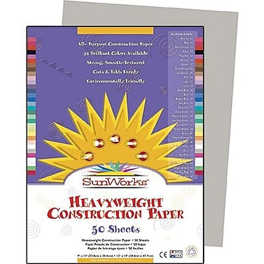 Pacon® SunWorks® Groundwood Construction Paper, Gray, 9in.(W) x 12in.(L), 50 Sheets