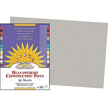 Pacon® SunWorks® Groundwood Construction Paper, Gray, 12in.(W) x 18in.(L), 50 Sheets