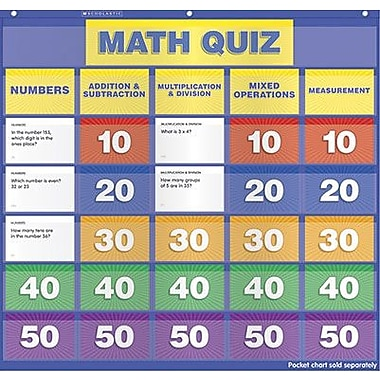 Teacher's Friend® Math Class Quiz Pocket Chart Add-Ons, Grades 2nd - 4th