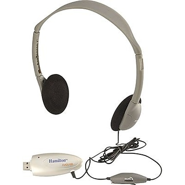 Hamilton Buhl HA2USB Personal USB On-Ear Headphone, Gray/Silver