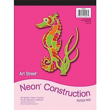 Pacon® Art Street® Neon Construction Paper Pad, Assorted, 9in.(W) x 12in.(L), 20 Sheets