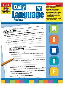 Evan-Moor Daily Language Review Teacher's Edition Book, Grades 7th