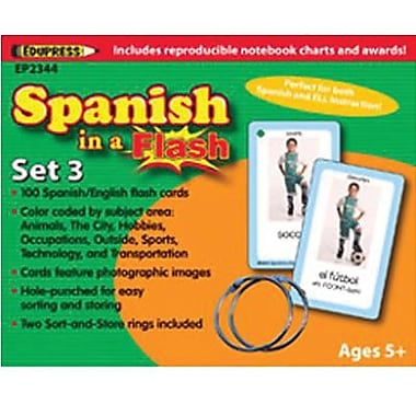 Edupress® Spanish In A Flash Color-Coded Flash Card Set 3, Grades 3+