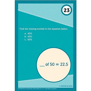 Edupress® Brain Blasters Math Skills Practice Cards, Percents, Decimals and Fractions