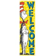 Eureka® Cat In The Hat™ Toddler - 6th Grades Vertical Banner, Cat In The Hat Welcome
