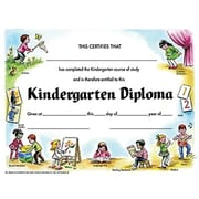 "Hayes® Yellow Border Kindergarten Diploma Certificate, 8 1/2""(L) x 11""(W)"