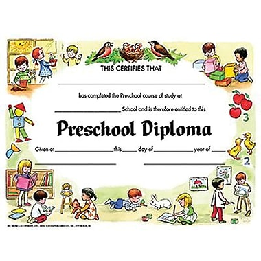 Hayes® White Border pre-school Diploma Certificate, 8 1/2