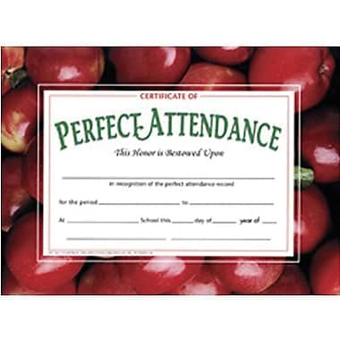 Hayes® Red Border Certificate of Perfect Attendance, 8 1/2