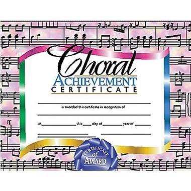 Hayes® Choral Achievement Certificate, 8 1/2