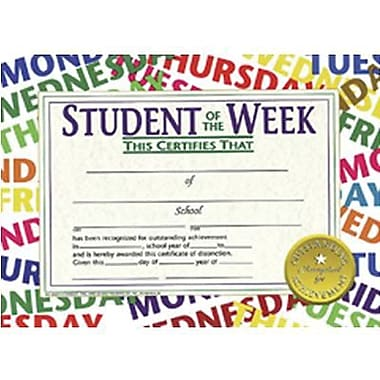 Hayes® Student of The Week Certificate, 8 1/2in.(L) x 11in.(W)