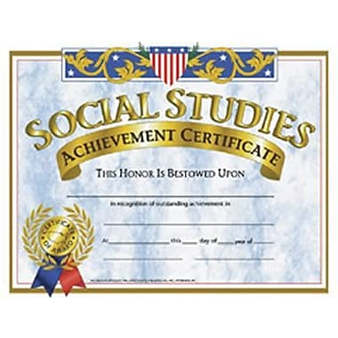 Hayes® Yellow Border Social Studies Achievement Certificate, 8 1/2in.(L) x 11in.(W),30/Pack