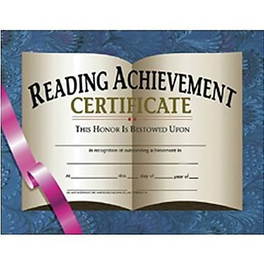 Hayes® Blue Border Reading Achievement Certificate, 8 1/2in.(L) x 11in.(W)