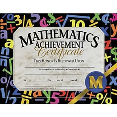 Hayes® Mathematic Achievement Certificate, 8 1/2in.(L) x 11in.(W)