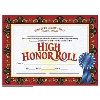 Hayes® Red Border High Honor Roll Certificate, 8 1/2
