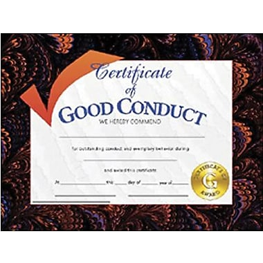Hayes® Assorted Border Good Conduct Award Certificate, 8 1/2