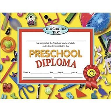 Hayes® pre-school Diploma Certificate, 8 1/2in.(L) x 11in.(W), 30/Pack
