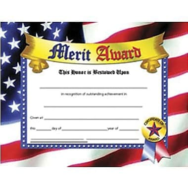 Hayes® Blue Border Merit Award Certificate, 81/2in. x 11in., 30/Pack