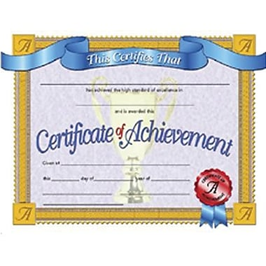 Hayes® White Border Certificate of Achievement, 8 1/2