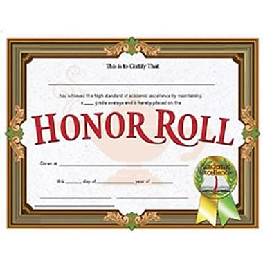Hayes® Brown Border Honor Roll Certificate, 8 1/2