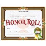 "Hayes® Brown Border Honor Roll Certificate, 8 1/2"" x 11"", 30/Pack"