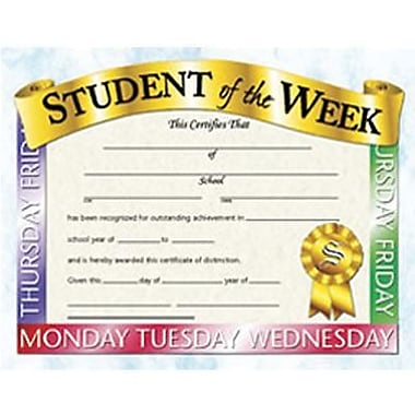 Hayes® Student of The Week Award Certificate, 8 1/2in.(L) x 11in.(W)