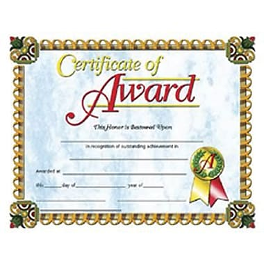 Hayes® Certificate of Award, 8 1/2in. x 11in., 30/Pack
