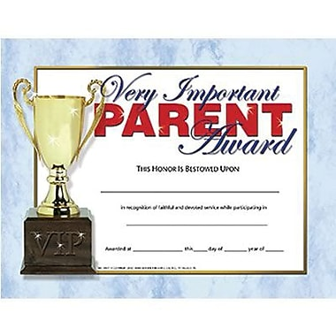 Hayes® Very Important Parent Award Certificate, 8 1/2in.(L) x 11in.(W)