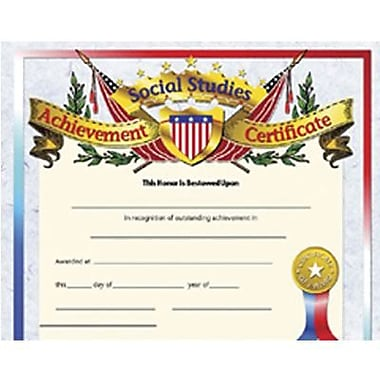Hayes® Assorted Border Social Studies Achievement Certificate, 8 1/2in.(L) x 11in.(W), 30/Pack
