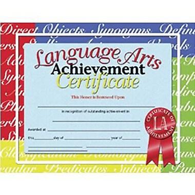 Hayes® White Border Language Arts Achievement Certificate, 8 1/2