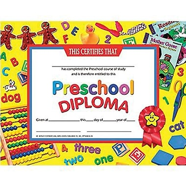 Hayes® Yellow Border Pre School Diploma Certificate, 8 1/2in.(L) x 11in.(W)