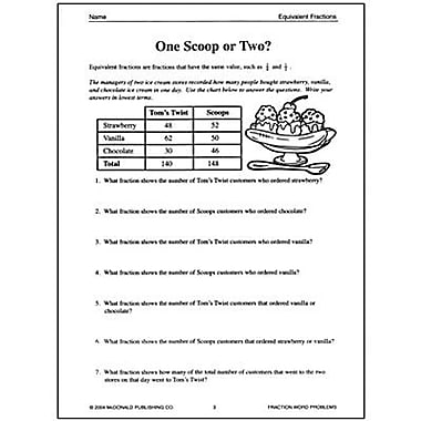 McDonald Publishing® Fraction Word Problems Reproducible Book, Grades 6th - 9th