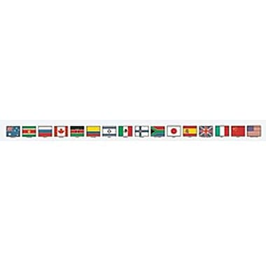 McDonald Publishing® 4th - 9th Grades Straight Bulletin Board Border, Flags of Nations Brainy