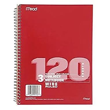 Mead® Spiral 3 Subject Wide Ruled Notebook, 10 1/2in.(H) x 7 1/2in.(W)