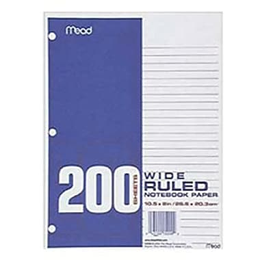 Mead® Wide Ruled Notebook Filler Paper, 10 1/2in. x 8in.