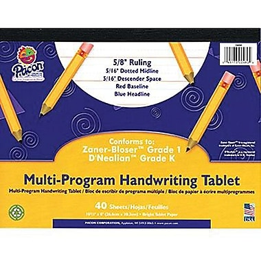 Pacon® Zaner-Bloser™ and D'Nealian™ Multi-Program Tablet Handwriting Paper, Grades K-1st, 40 Sheets
