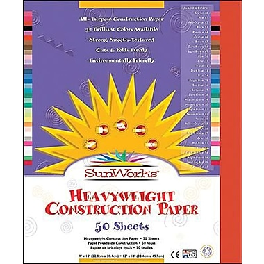 Pacon® SunWorks® Groundwood Construction Paper, Red-Orange, 12in.(W) x 18in.(L), 50 Sheets