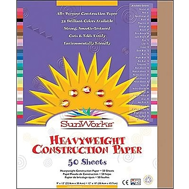 Pacon® SunWorks® Groundwood Construction Paper, Light Brown, 9in.(W) x 12in.(L), 50 Sheets