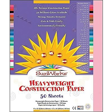 Pacon® SunWorks® Groundwood Construction Paper, Pink, 9in.(W) x 12in.(L), 50 Sheets