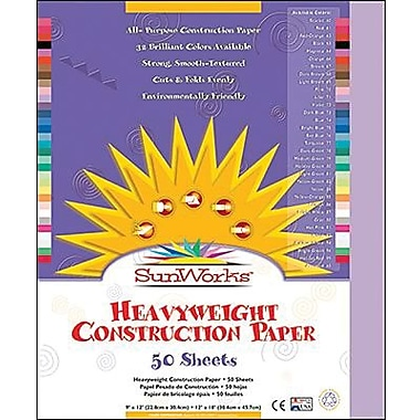 Pacon® SunWorks® Groundwood Construction Paper, Lilac, 9in.(W) x 12in.(L), 50 Sheets
