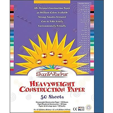 Pacon® SunWorks® Groundwood Construction Paper, Dark Blue, 9in.(W) x 12in.(L), 50 Sheets