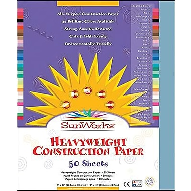 Pacon® SunWorks® Groundwood Construction Paper, Sky Blue, 9in.(W) x 12in.(L), 50 Sheets