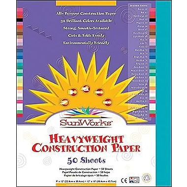 Pacon® SunWorks® Groundwood Construction Paper, Turquoise, 9in.(W) x 12in.(L), 50 Sheets