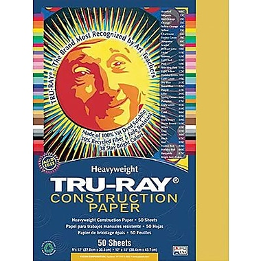 Pacon® Tru-Ray® Sulphite Construction Paper, Gold, 9in.(W) x 12in.(L), 50 Sheets