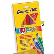 "Sargent Art® 7"" Colored Pencil, Triangle, Assorted, 10/Box"