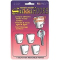 StikkiWorks® Removable Reusable Stikki Hooks, White, 4/Pack