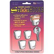 StikkiWorks Removable/Reusable StikkiHOOKS, 4/Pack