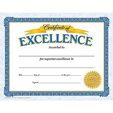 Trend Enterprises® Certificate of Excellence, 8 1/2in.(L) x 11in.(W)