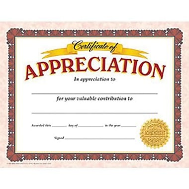 Trend Enterprises® Certificate of Appreciation, 8 1/2