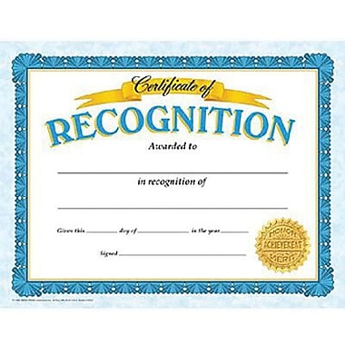 Trend Enterprises® Blue Border Certificate of Recognition, 8 1/2